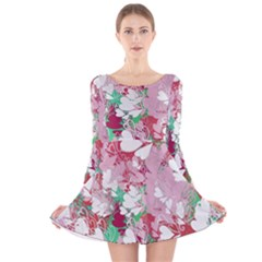 Confetti Hearts Digital Love Heart Background Pattern Long Sleeve Velvet Skater Dress