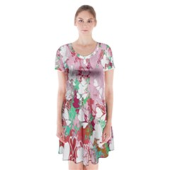 Confetti Hearts Digital Love Heart Background Pattern Short Sleeve V-neck Flare Dress