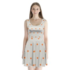 Diamond Polka Dot Grey Orange Circle Spot Split Back Mini Dress