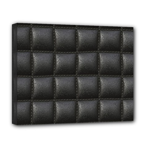 Black Cell Leather Retro Car Seat Textures Deluxe Canvas 20  x 16