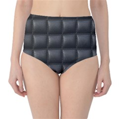 Black Cell Leather Retro Car Seat Textures High-Waist Bikini Bottoms
