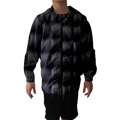 Black Cell Leather Retro Car Seat Textures Hooded Wind Breaker (kids)