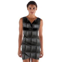 Black Cell Leather Retro Car Seat Textures Wrap Front Bodycon Dress