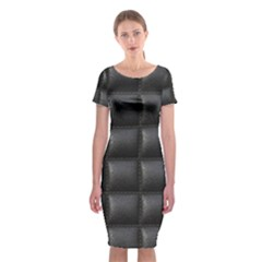 Black Cell Leather Retro Car Seat Textures Classic Short Sleeve Midi Dress