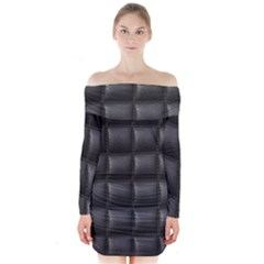 Black Cell Leather Retro Car Seat Textures Long Sleeve Off Shoulder Dress