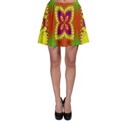 Digital Color Ornament Skater Skirt