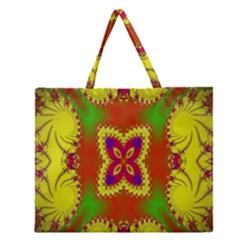 Digital Color Ornament Zipper Large Tote Bag