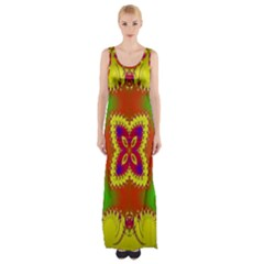 Digital Color Ornament Maxi Thigh Split Dress