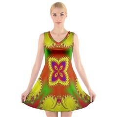 Digital Color Ornament V Neck Sleeveless Skater Dress