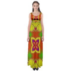 Digital Color Ornament Empire Waist Maxi Dress
