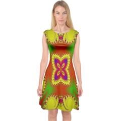 Digital Color Ornament Capsleeve Midi Dress