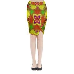 Digital Color Ornament Midi Wrap Pencil Skirt