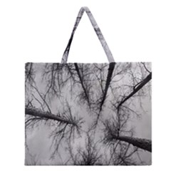 Trees Without Leaves Zipper Large Tote Bag