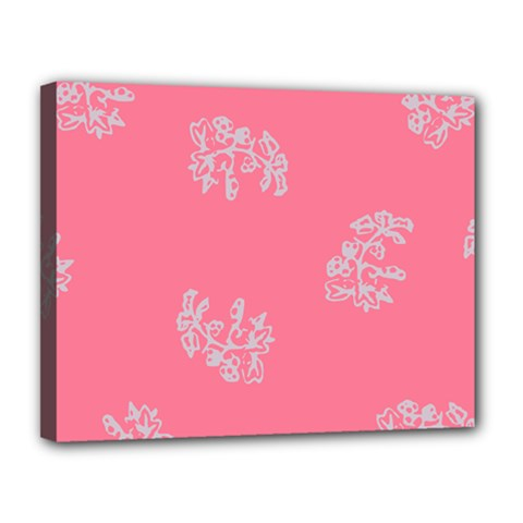 Branch Berries Seamless Red Grey Pink Canvas 14  x 11