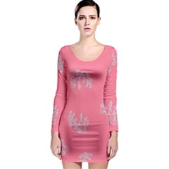 Branch Berries Seamless Red Grey Pink Long Sleeve Bodycon Dress