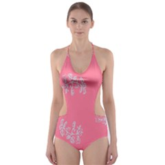Branch Berries Seamless Red Grey Pink Cut-Out One Piece Swimsuit