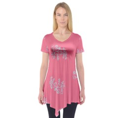 Branch Berries Seamless Red Grey Pink Short Sleeve Tunic
