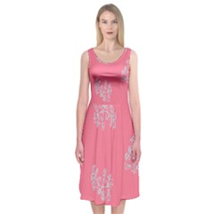 Branch Berries Seamless Red Grey Pink Midi Sleeveless Dress