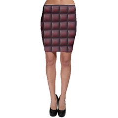 Red Cell Leather Retro Car Seat Textures Bodycon Skirt