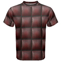 Red Cell Leather Retro Car Seat Textures Men s Cotton Tee