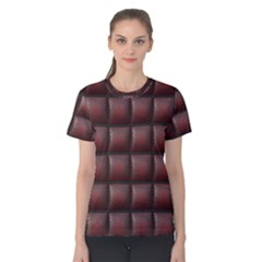 Red Cell Leather Retro Car Seat Textures Women s Cotton Tee