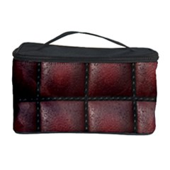 Red Cell Leather Retro Car Seat Textures Cosmetic Storage Case