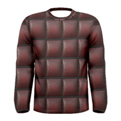 Red Cell Leather Retro Car Seat Textures Men s Long Sleeve Tee