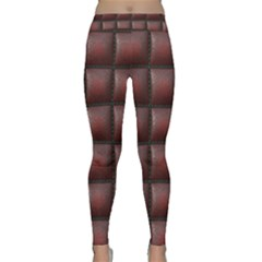 Red Cell Leather Retro Car Seat Textures Classic Yoga Leggings