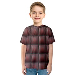Red Cell Leather Retro Car Seat Textures Kids  Sport Mesh Tee