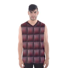 Red Cell Leather Retro Car Seat Textures Men s Basketball Tank Top