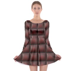Red Cell Leather Retro Car Seat Textures Long Sleeve Skater Dress