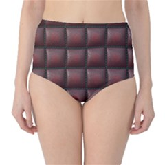 Red Cell Leather Retro Car Seat Textures High-Waist Bikini Bottoms