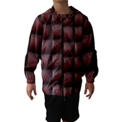 Red Cell Leather Retro Car Seat Textures Hooded Wind Breaker (kids)