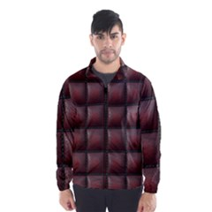 Red Cell Leather Retro Car Seat Textures Wind Breaker (Men)