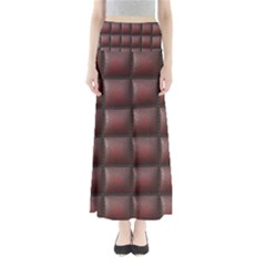 Red Cell Leather Retro Car Seat Textures Maxi Skirts