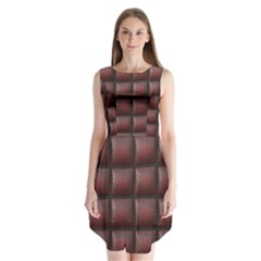 Red Cell Leather Retro Car Seat Textures Sleeveless Chiffon Dress