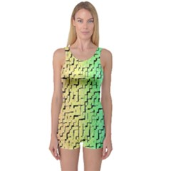 A Creative Colorful Background One Piece Boyleg Swimsuit