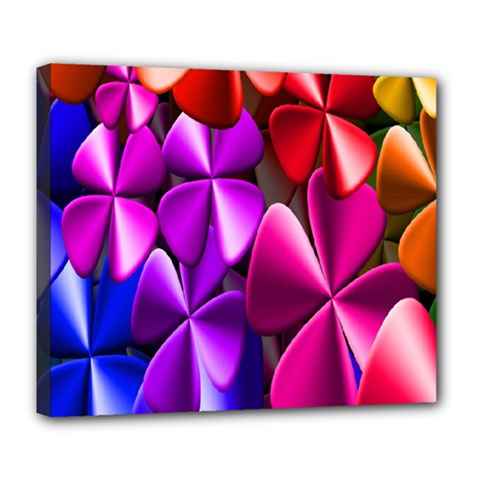 Colorful Flower Floral Rainbow Deluxe Canvas 24  x 20