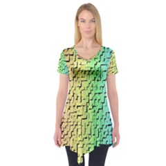 A Creative Colorful Background Short Sleeve Tunic