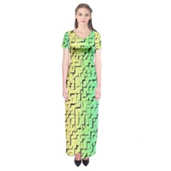 A Creative Colorful Background Short Sleeve Maxi Dress