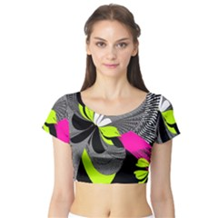 Abstract Illustration Nameless Fantasy Short Sleeve Crop Top (tight Fit)