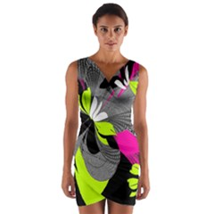 Abstract Illustration Nameless Fantasy Wrap Front Bodycon Dress