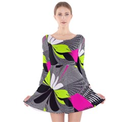 Abstract Illustration Nameless Fantasy Long Sleeve Velvet Skater Dress