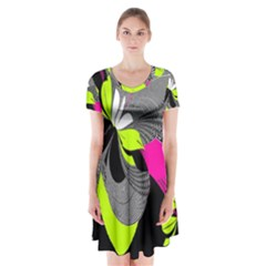 Abstract Illustration Nameless Fantasy Short Sleeve V-neck Flare Dress