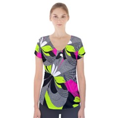 Abstract Illustration Nameless Fantasy Short Sleeve Front Detail Top