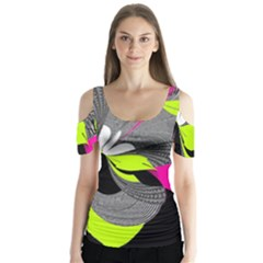 Abstract Illustration Nameless Fantasy Butterfly Sleeve Cutout Tee