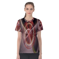 Fractal Fabric Ball Isolated On Black Background Women s Cotton Tee