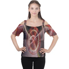 Fractal Fabric Ball Isolated On Black Background Women s Cutout Shoulder Tee