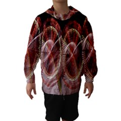 Fractal Fabric Ball Isolated On Black Background Hooded Wind Breaker (Kids)