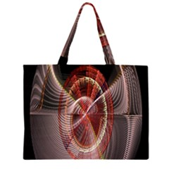 Fractal Fabric Ball Isolated On Black Background Zipper Large Tote Bag
